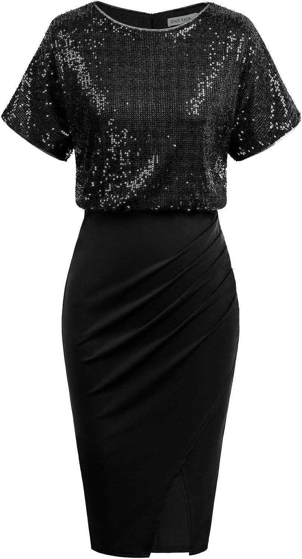 GRACE KARIN Women's Short Sleeve Sequin Bodycon Dress Pencil Party Dress