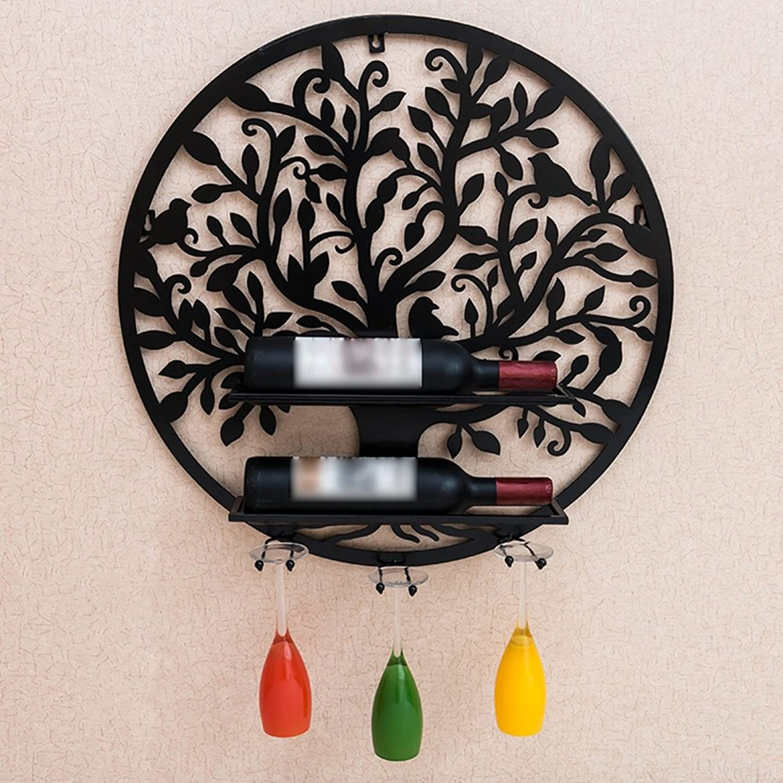 KTYXDE Wine Glass Rack Wall Hanging Wine Rack Wall Wine Cabinet Decoration Hanging Creative Wine Rack Wine Bottle Rack (color   Black)