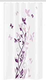 Ambesonne Purple Stall Shower Curtain, Violet Tree Swirling Persian Lilac Blooms with Butterfly Ornamental Plant Graphic, Fabric Bathroom Decor Set with Hooks, 36