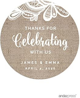 Andaz Press Burlap Lace Wedding Collection, Personalized Round Circle Label Stickers, Thank You for Celebrating with US, 40-Pack, Custom Name