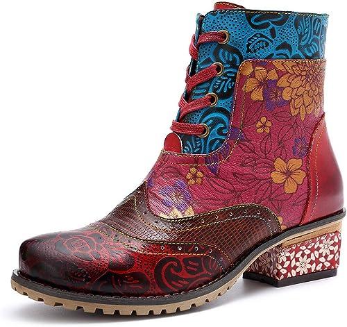 LEFT&RIGHT Les Femmes Bottes de Cheville Cheville en Cuir, Dame Bottes de Plein air Chaussures Bloc Talons Ronds Toe Lace jusqu'à Zipper Mariage Party démarrage Impression Bottes rétro