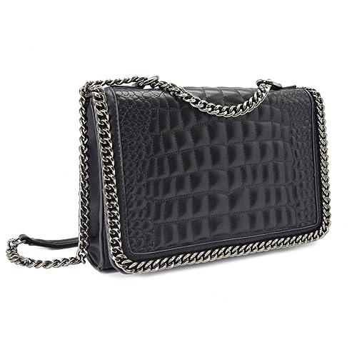 59ccb482d64 CRAZYCHIC - Women s Chain Crossbody Bag - Quilted Shoulder Handbag  Crocodile Pattern PU Leather - Croco
