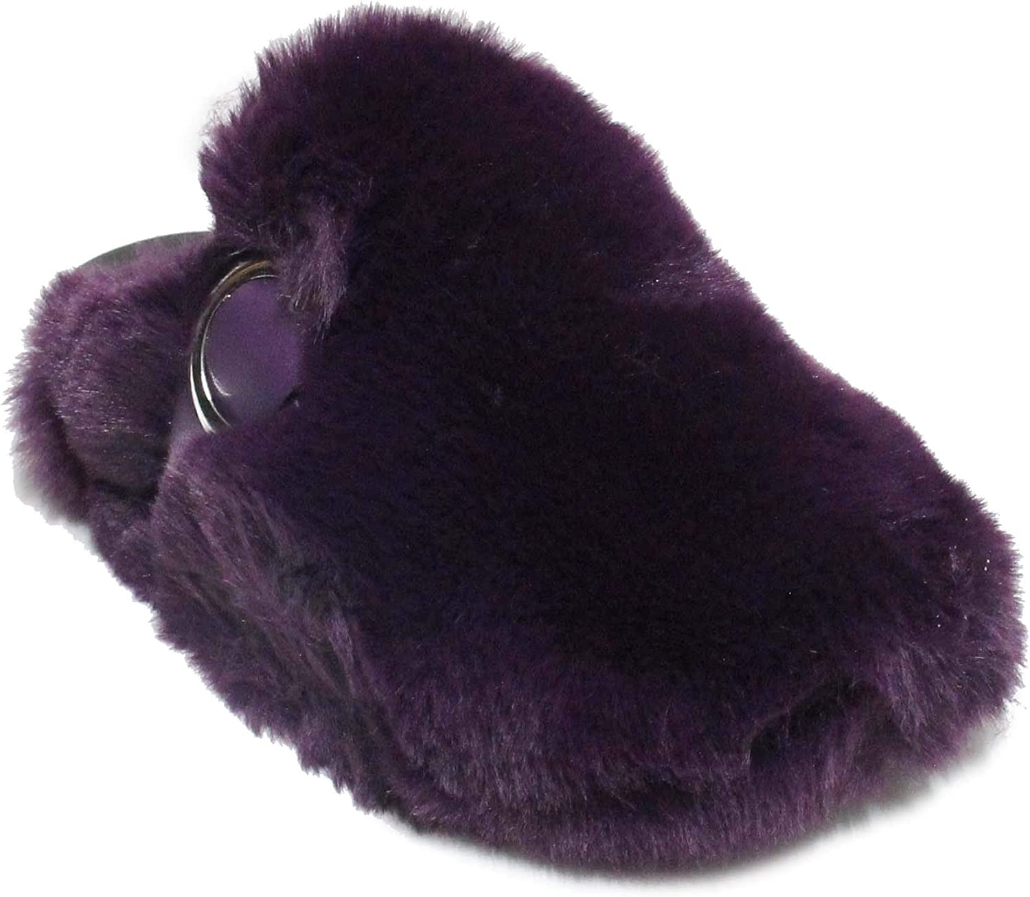 Women's Fur Slides Cute Fuzzy Slippers Comfort Slip On Closed Toe Flat Sandals Miss More 2