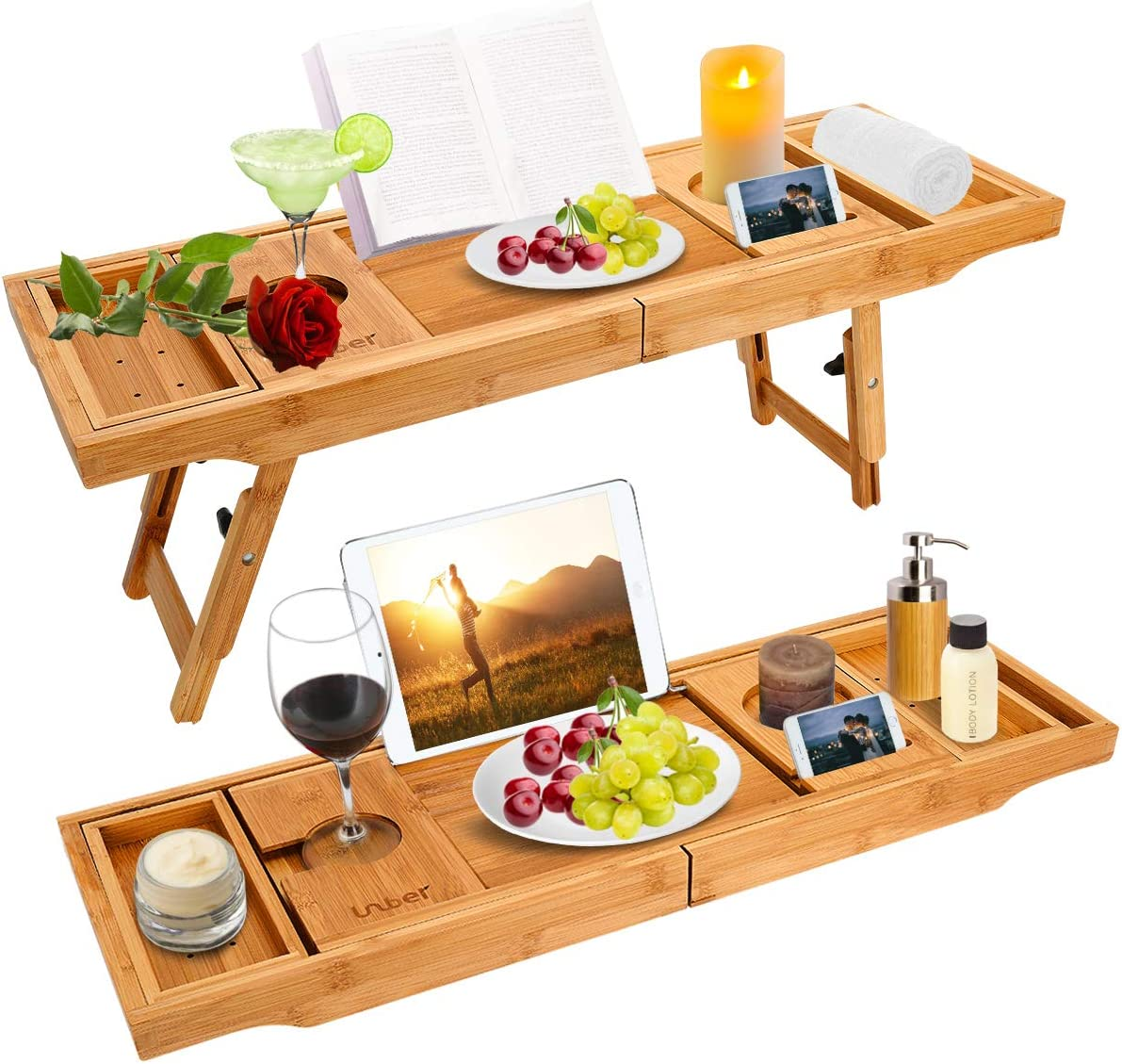 sold out Bathtub Caddy Tray Bath Table Dedication with Extending Bamboo Sides