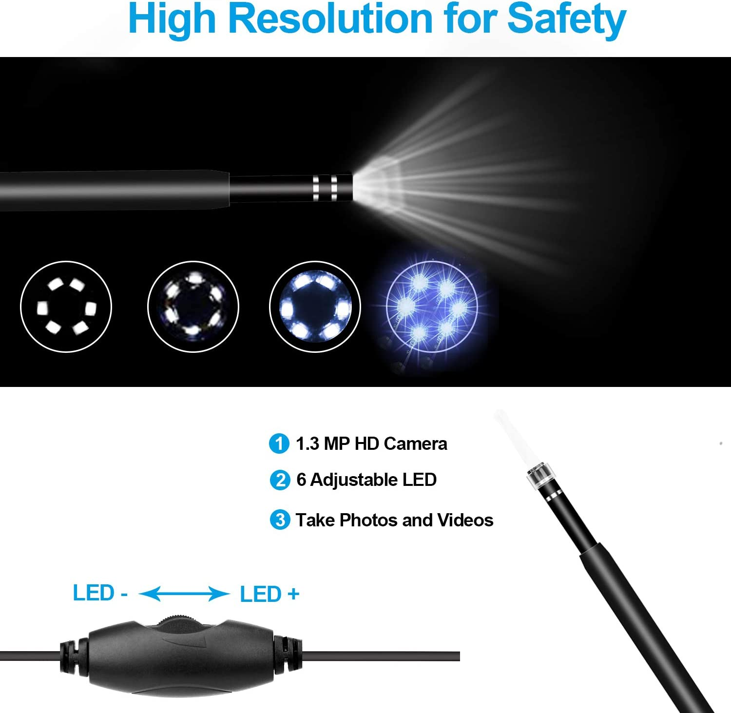 Compatible with Android and PC Otoscope USB Ear Camera Coligbat New Upgraded 4.3mm HD Inspection Camera 6 Adjustable LED Lights with Ear Wax Removal Tools Ear Endoscope