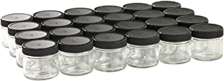 North Mountain Supply 2 Ounce Straight Sided Spice/Canning Jars 53 CT - Case of 24 (Black Plastic Lids, 1)
