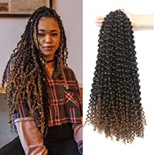 7 Packs Passion Twist Hair 18 Inch Water Wave Synthetic Braids for Passion Twist Crochet Braiding Hair Goddess Locs Long Bohemian Locs Hair (22Strands/Pack, T30#)