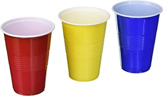 TashiBox 16 oz disposable plastic party 150 count-Assorted color red, blue, 50 yellow, BPA Free, Multicolor cups
