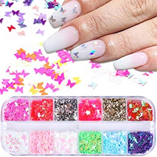 12 Colors Butterfly Glitter Nail Sequins Holographic 3D Nail Art Flakes Colorful Confetti Glitter Sticker,Nail Art Design ...