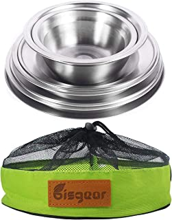 Bisgear Stainless Steel Plates Bowls Mess Kit 7pcs Backpacking Camping Kitchen Dinner Dish Family Set Outdoor Round Metal ...