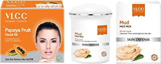 VLCC Papaya Fruit Facial Kit, 60g And VLCC Mud Face Pack, 70g