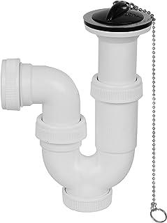 Aqualy BO-43451 Sifón curvado para lavabo y cocina, con válvula