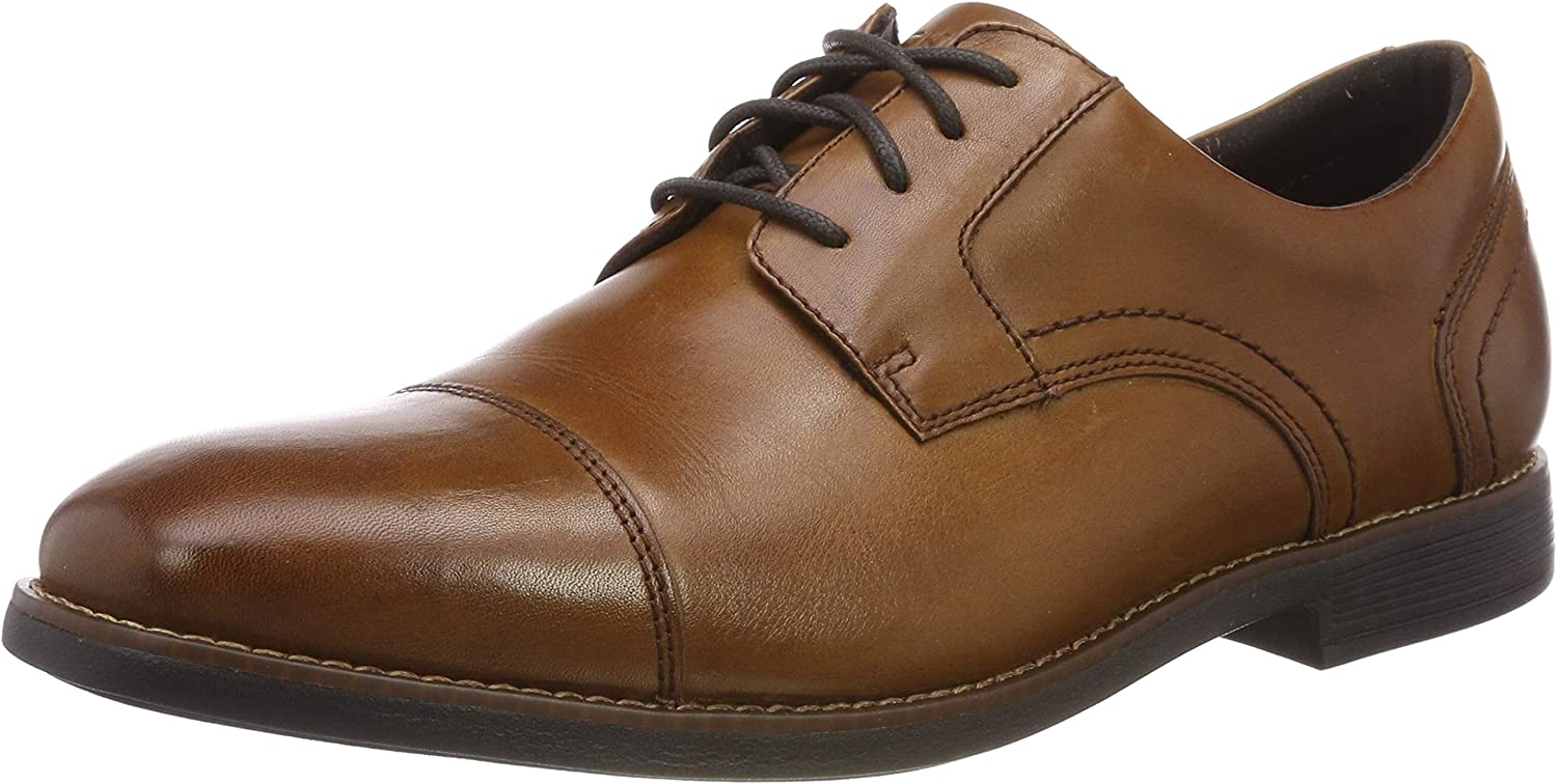 Rockport Men's Slayter Cap bluecher Cognac Oxfords