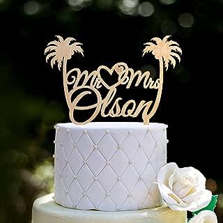 Mr and mrs palm tree wedding cake topper,Wedding cake topper,Palm tree beach mr mrs topper,tropical wedding bride groom cake topper,094