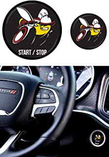 Scat Pack Starter Button Decal Overlay compatible with 2015-2019 Dodge Charger/Challenger | Domed SRT Style Start Stop Sticker Emblem | Push to Start Button Badge Cover | Scatpack Accessories (black)