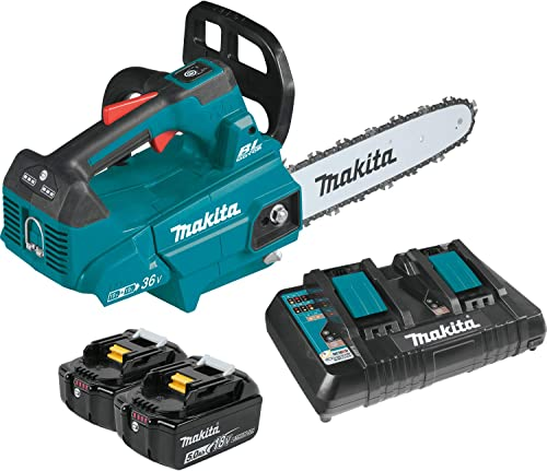 """lowest Makita XCU08PT Lithium-Ion Brushless wholesale Cordless (5.0Ah) 18V sale X2 (36V) LXT 14"""" Top Handle Chain Saw Kit, Teal outlet sale"""