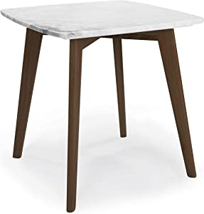 Poly and Bark Riley Real Marble Top End Side Coffee Table (Square 20 Inch, Walnut)