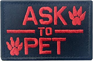 Service Dog Ask to Pet Tactical Embroidered Morale Hook & Loop Patch - Red