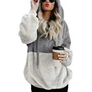 Acelitt Women's Fuzzy Casual Loose Oversized Sweatshirt Hooded with Pockets (11 Color,S-XXL)