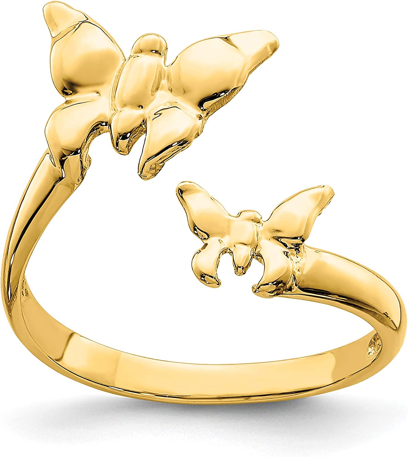 14k Yellow Gold Polished Twin Butterfly Toe Ring