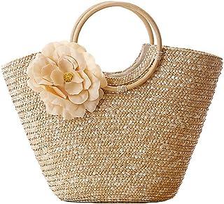 SODIAL Bolso de mano para mujer con tejido de paja, tejido de flores, verano, playa, mensajero, bolsa de mano, cesta, comp...