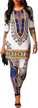 Women's African Print Shirt Dress Top and Pants Set Tribal Suits 2 Pieces Outfit