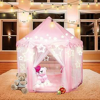 Beebeerun Princess Tent Kids Playhouse Indoor and Outdoor Hexagon Pink Castle Play Tent for Girls