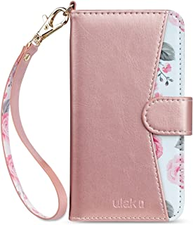 ULAK Flip Floral Wallet Case for iPhone 8/iPhone 7, Premium PU Leather Case with Kickstand Card Holder ID Slot and Wristlet Shockproof Protective Cover for Apple iPhone 7/8 4.7 Inch, Rose Gold Floral