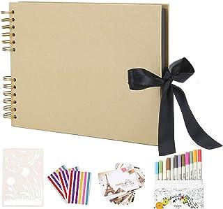 AIOR Album de Fotos Scrapbook Espiral, 80 Páginas Negras (40 Hojas), DIY Scrapbooking Album Original para Boda Aniversario...