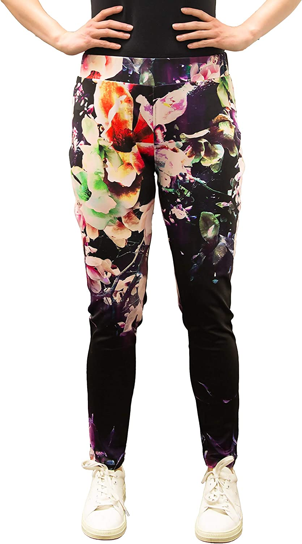 Poetic Justice Curvy Women's Plus Size Black Floral Print Poly Tricot Active Leggings