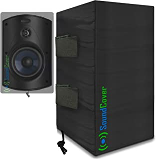 "2 (Two) Compact Outdoor Speaker Covers - Protection & Storage Bags fit Klipsch Kho-7, Polk Atrium 5, Herdio 5.25"" & Pyle 5..."