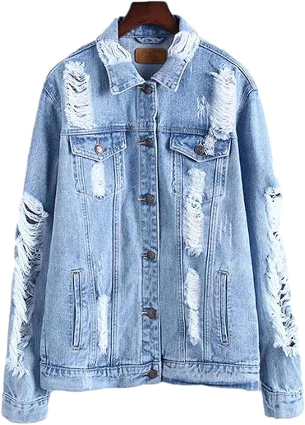 Peaceglad Women's Ripped Denim Single Breasted Coat Jacket Baseball Uniform