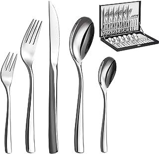 Velaze Couverts de Table, Couteaux et Fourchettes de 60 Pièces, Ménagères Assorties en Acier Inoxydable pour 12 Personnes,...