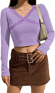 Women Long Sleeve Crop Top Sexy V Neck T Shirt Y2K Fashion Pullover Blouse Tee Streetwear