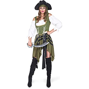 Generique - Disfraz de Pirata Verde Mujer M: Amazon.es: Juguetes y ...