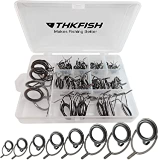 thkfish Fishing Rod Guides Fishing Rod Repair Kit Baitcasting Rod Guides Ceramics Stainless Steel Carbon Guide Repair 8 Sizes Black/Burnished Silver 75pcs