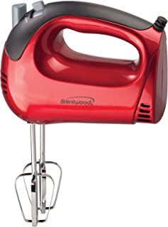 Brentwood Electric Hand Mixer, Lightweight 5-Speed, Red