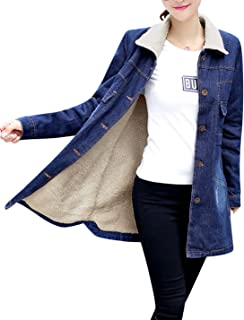 Women's Warm Sherpa Lined Mid-Long Denim Jean Jacket