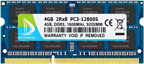 DUOMEIQI 4GB 2RX8 PC3-12800 PC3-12800S DDR3 1600MHz SO-DIMM CL11 204 Pin 1.5v Non-ECC Unbuffered Notebook Memory Laptop RAM Modules Compatible with Intel AMD and Mac System