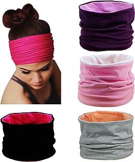 comprar comparacion HBF 4 Piezas Venda De Pelo Mujer Algodón Turbante Ancho Respirable Cinta Para El Pelo Deportiva Para Yoga