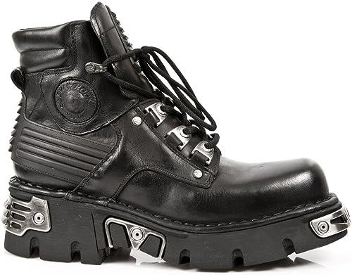 schwarz New Rock Mitad de las Stiefel Con Lacing y Reactorsole M.924-S1
