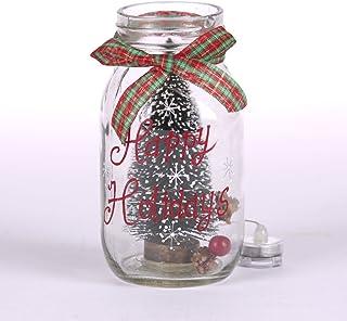 "Glitzhome 6.69"" H Christmas Tree Glass Bottle Light, Happy Holidays"