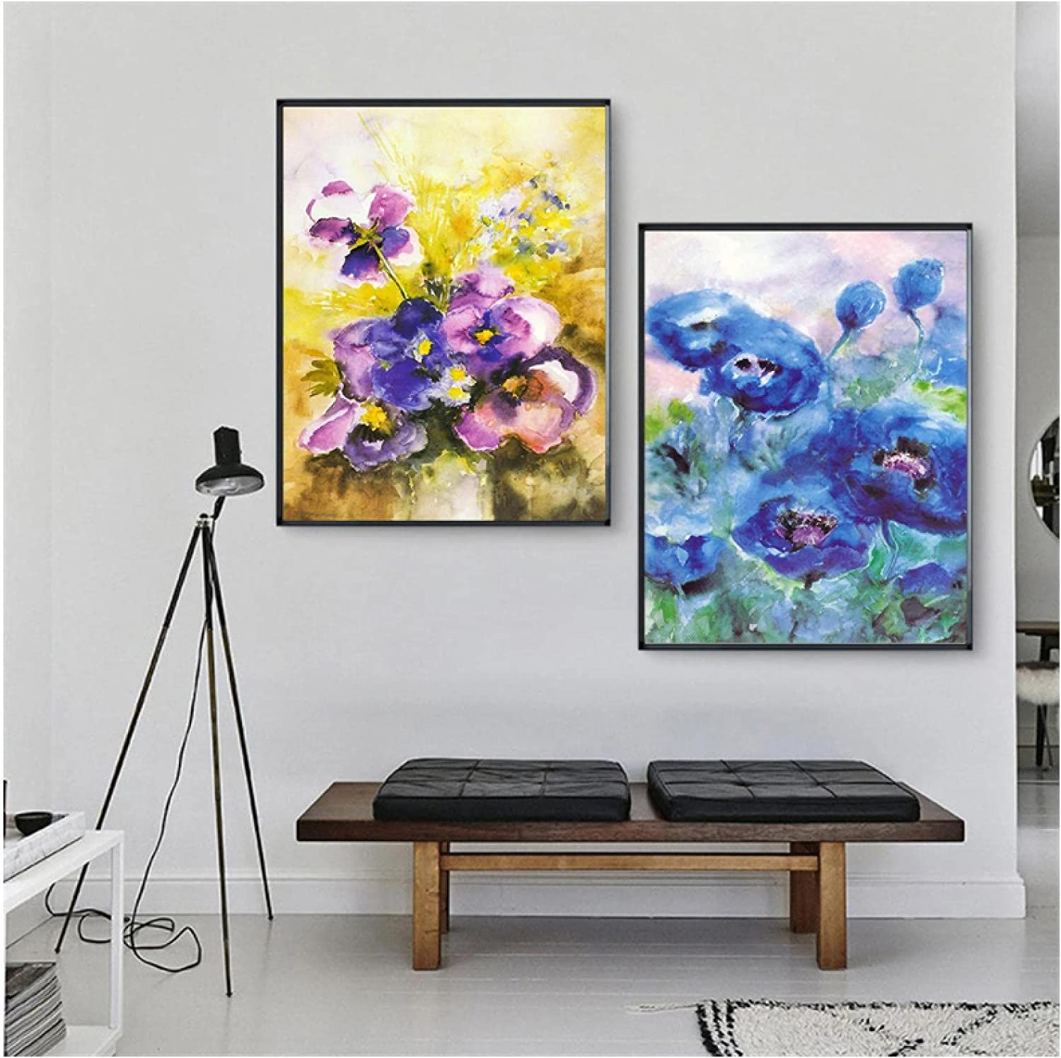 MENGX Printing On Canvas Watercolor Flower Cheap super special price Post Purple Max 68% OFF Abstract