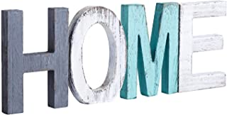 Y&ME Rustic Wood Home Sign, Decorative Wooden Block Word Signs, Freestanding Wooden..