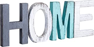 Y&Me Rustic Wood Home Sign, Decorative Wooden Block Word Signs, Freestanding Wooden Letters, Rustic Home Signs for Home Decor, 16.5 x 5.9 Inch, Multicolor