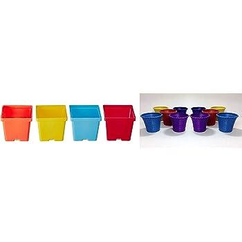 Malhotra Plastic 110005 Plastic Gift Pot Set (Multicolored, 8-Pieces) and Malhotra Plastic 110021 Shining Pot Set (Multicolor, 10-Pieces)