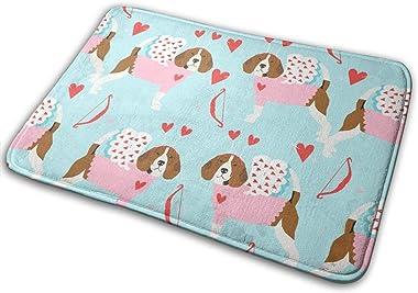 Beagle Love Bug Valentines Day Dog Breed Blue_25035 Doormat Entrance Mat Floor Mat Rug Indoor/Outdoor/Front Door/Bathroom Mat