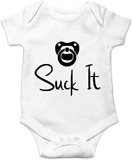 Suck It - Funny Newborn Pacifier Punk Gift Idea - Cute Infant One-Piece Baby Bodysuit