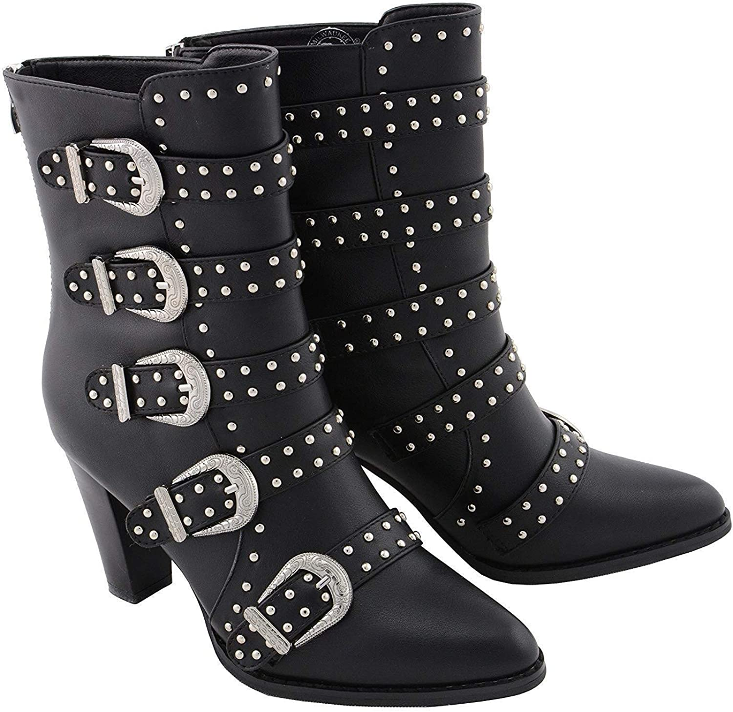 Milwaukee Leather MBL9428 Women's Black Buckle Up Boots with Studded Bling