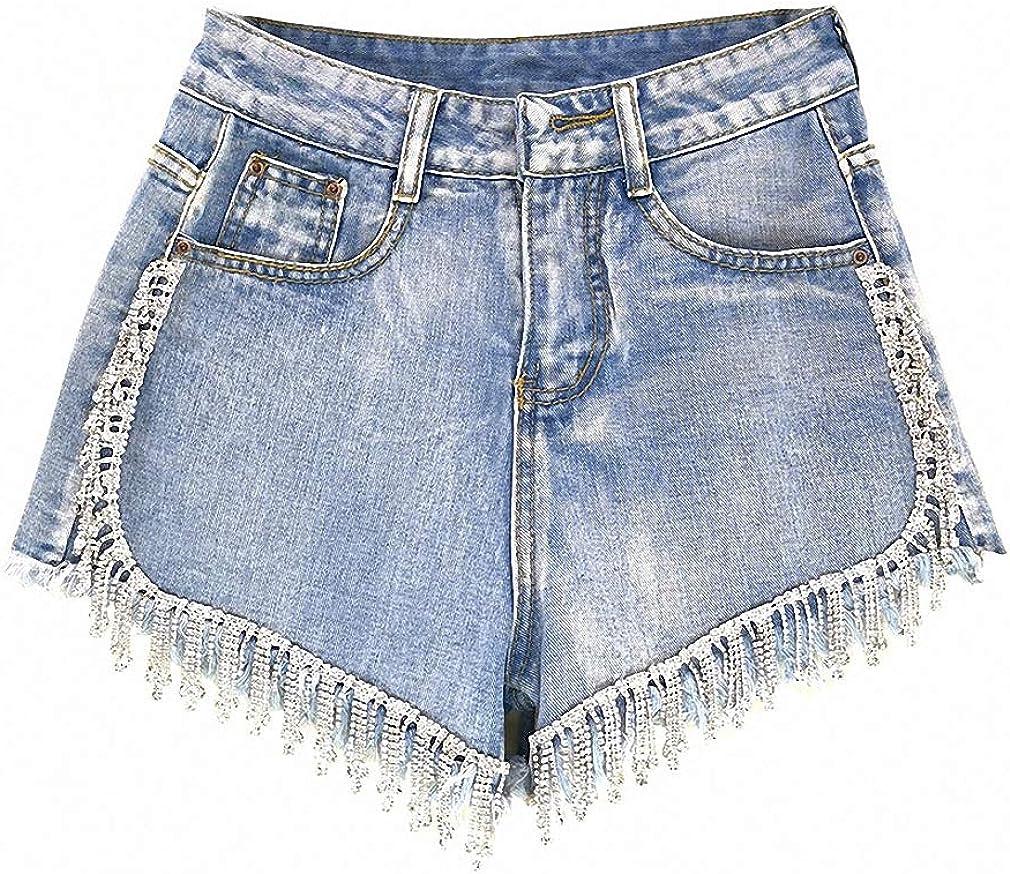 Spring Summer Shorts Denim Patchwork Tassel High Waist Shorts Streetwear Women